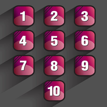 keypad: Set of square buttons with numbers, vector illustration