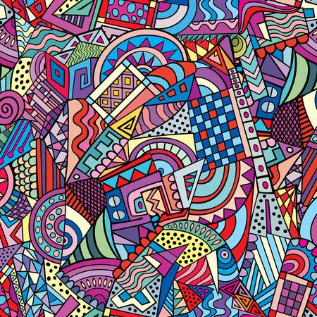 幾何学的形態のカラフルな抽象的な装飾的なベクトルのシームレスなパターン
