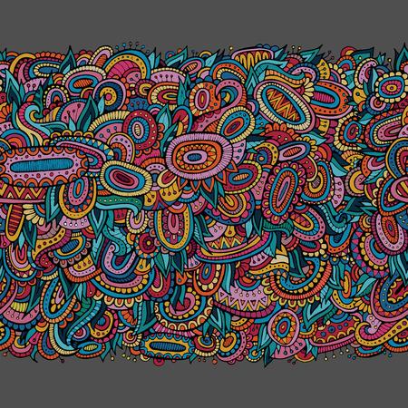Ethnic hand drawn ornamental decorative seamless pattern