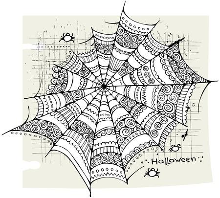 Halloween spider web hand drawn vector background Vector