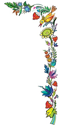 Ukrainian national vector floral ethnic cartoon ornament Vector