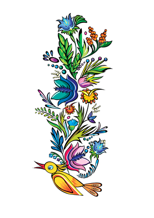 Vector ukrainian ethnic floral ethnic cartoon ornament Vector