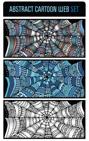 spider web background: Abstract cartoon spider web background banners set