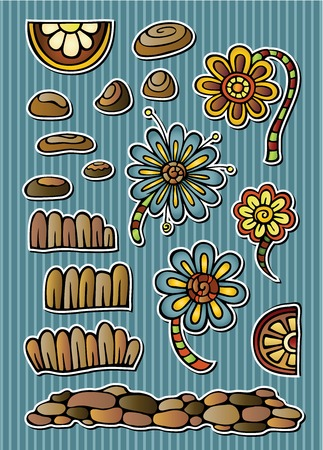 Set of vector fairytale floral drawing elements Vector