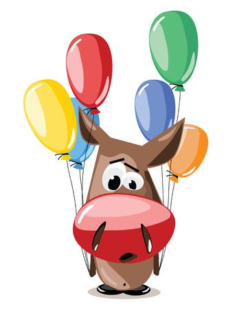 anguish: vector illustration cartoon personage donkey with balloons