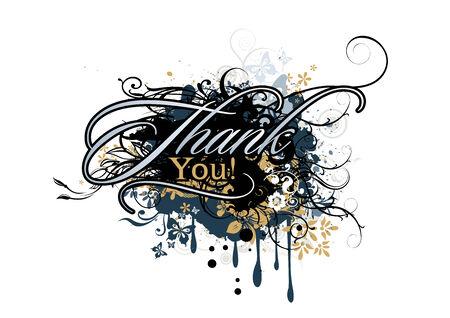Thank you grunge elements inscription, vector illustration Vector