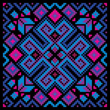 Ethnic ukrainian mosaic ornamental background. Circle decorative floral ornament rosette. Vector illustration Vector