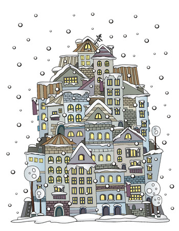 roof tile: Illustration of fantasy vector fairy-tale drawing town Illustration
