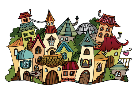 Illustration of fantasy vector fairy-tale drawing town Illustration