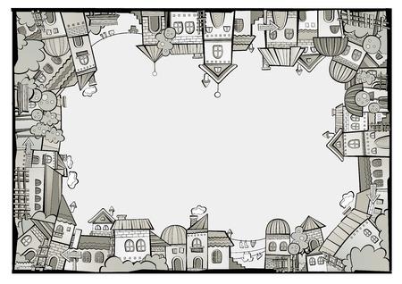 brick house: Fairy tale postcard with cartoon vector construction town