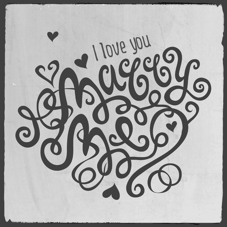 marry me: Marry Me hand lettering - handmade calligraphy, vector