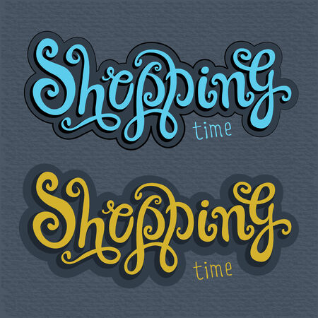 Shopping hand drawn lettering - handmade calligraphy, vector Vector