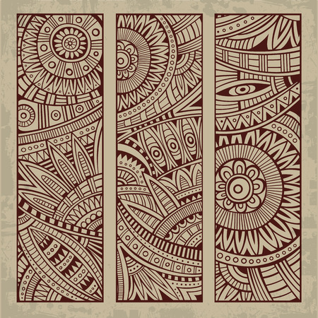 african fabric: Abstract vector hand drawn vintage ethnic pattern card set.