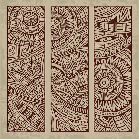 Abstract vector hand getekend vintage etnische patroon kaart set. Stock Illustratie