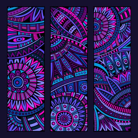 african fabric: Abstract vector hand drawn vintage ethnic pattern card set. Part 2