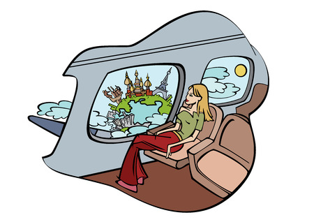 easy chair: Girl sits in plane and peers into window. Vector illustration Illustration