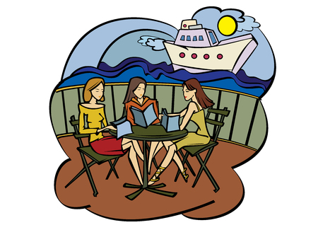 Vector illustration - three girlfriends in cafe near seaside Stock Vector - 27735020
