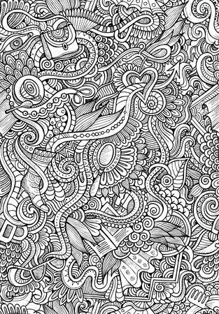 fashion glasses: vector doodles seamless pattern with female fashion things