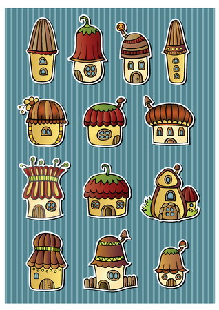 Set of color cartoon fantasy vector houses Vector