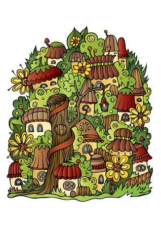 fantasy world: Illustration of fantasy vector fairy-tale drawing town Illustration