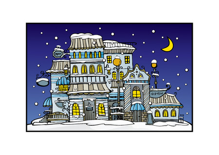 city by night: Illustration of fantasy vector fairy-tale drawing town Illustration