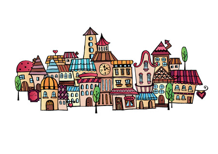 Illustration of fantasy vector fairy-tale drawing town Çizim
