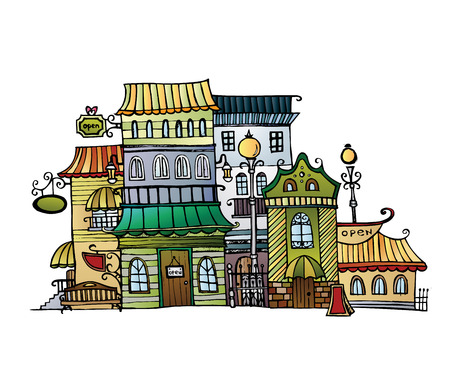 Illustration of fantasy vector fairy-tale drawing town Vector