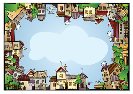 Fairy tale postcard with cartoon vector construction town