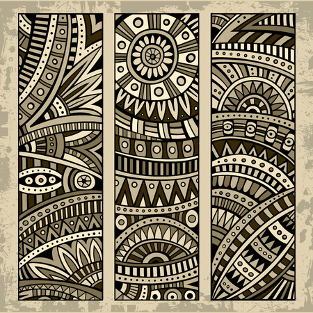 aztec art: Abstract vector hand drawn vintage ethnic pattern card set. Part 1