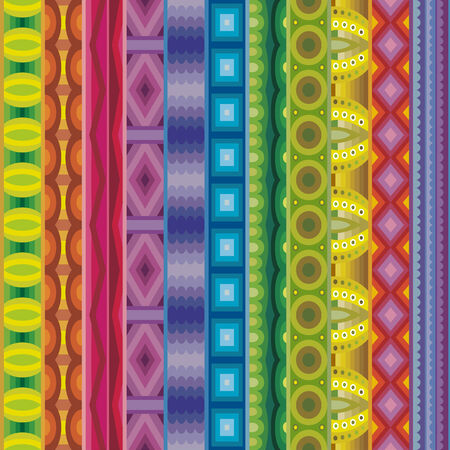 african fabric: Geometric vector various strips motifs in different color. Seamless pattern