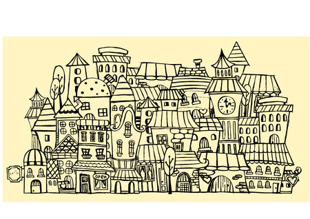 openly: Cartoon sketch vector fairy tale drawing houses.
