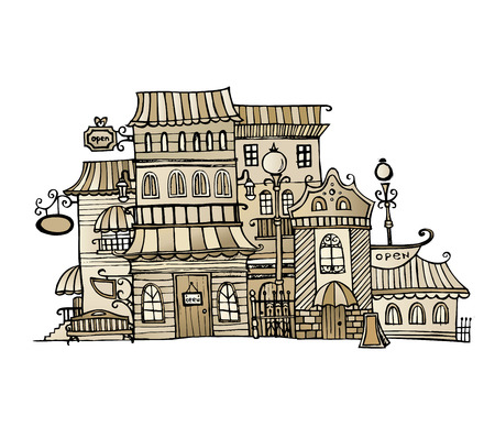 classics: Cartoon sketch vector fairy tale drawing houses.