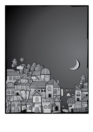 grayscale postcard with cartoon vector construction night town