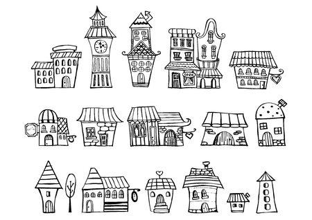 classics: Cartoon vector fairy tale drawing houses. Series separate lodge. Illustration