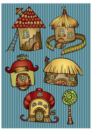 Set of color cartoon fantasy vector houses Vector