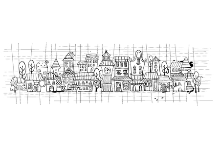 Cartoon sketch vector fairy tale drawing houses.