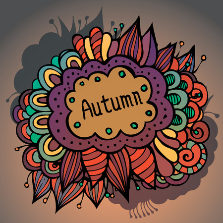 Vector  abstract autumn floral and leaves card design Vector