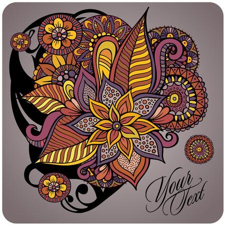 Abstract decorative floral vector design grunge card Vector