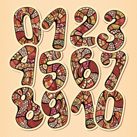 Decorative doodles hand drawn vintage floral style numbers Vector