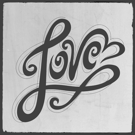 liebe: Liebe Handbeschriftung - handgefertigte Kalligraphie, Vektor-Hintergrund Illustration
