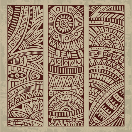 mexican culture: Abstract vector hand drawn vintage ethnic pattern card set. Part 2
