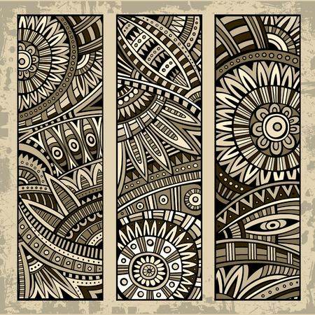 Abstract vector hand drawn vintage ethnic pattern card set. Part 2 Vector