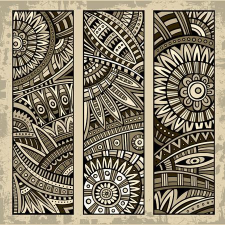Abstract vector hand getekend vintage etnische patroon kaart set. Part 2
