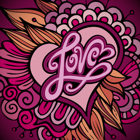 Love hand lettering - handmade calligraphy, vector background photo