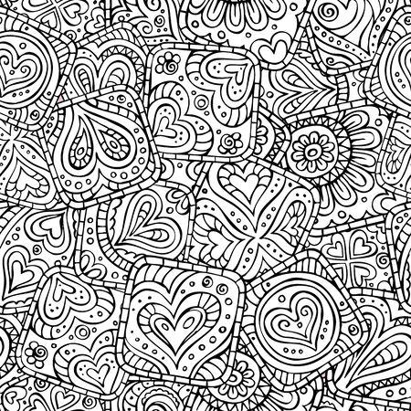 batik pattern: Love and feeling abstract theme seamless pattern