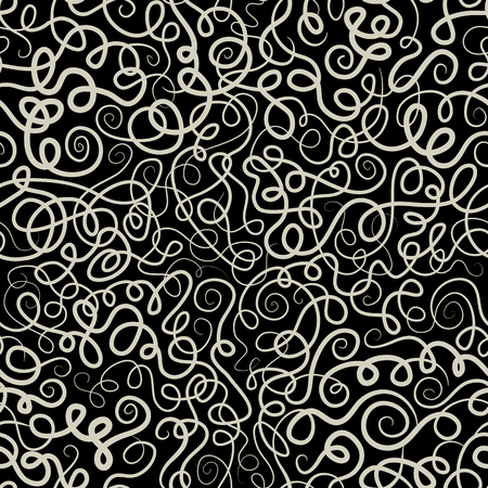batik motif: Vector contour seamless abstract pattern with waves and curls