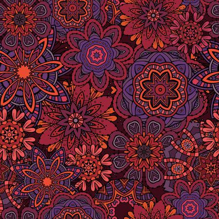 fantasy art: Beautiful abstract decorative floral ornamental seamless pattern Stock Photo
