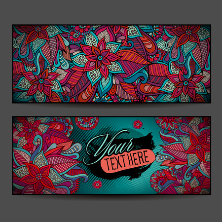 Abstract vector decorative floral ornamental backgrounds. Series of image Template frame design for card. photo