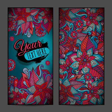 Abstract vector decorative floral vertical backgrounds. Series of image. Template frame design for card. photo