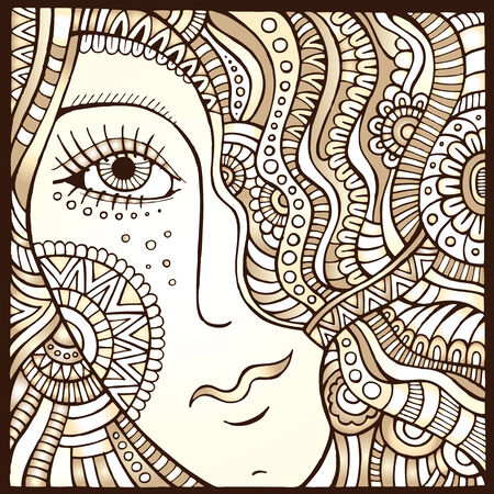 Vector decorative hair girl monochrome abstract illustration illustration